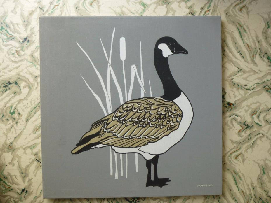 MARUSHKA CANADIAN GOOSE DUCK VTG MID-CENTURY SILK SCREEN FABRIC ART PRINT