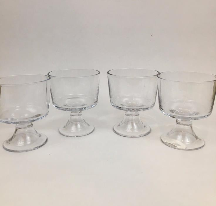 Small Bites Individual Clear Glass Trifle Bowls- Footed Fruit Cups- Set of 4