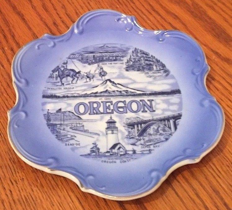 Vintage Oregon state Decorative Collectors Plate Blue Japan plate
