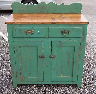 Antique Green Wood Base Cabinet
