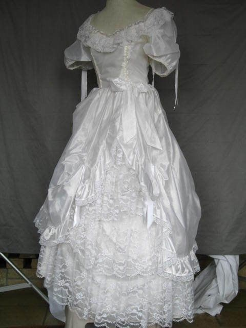 Victorian Edwardian Civil War Style White Lace Dress Wedding Gown Size 7/8