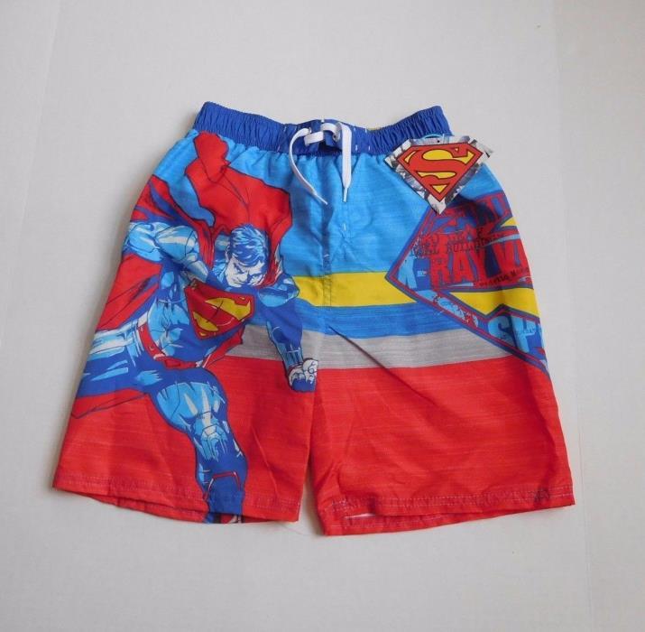 NWT Boys Superman Swim Shorts Trunks sz 10/12