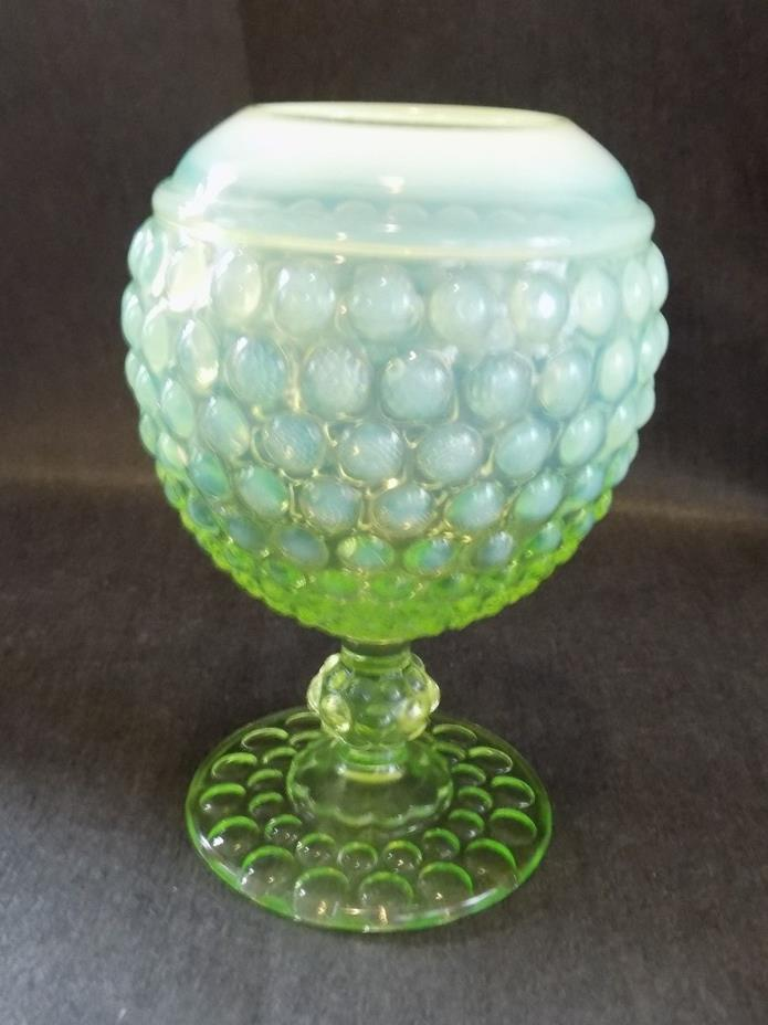 1930's Imperial early american hobnail vaseline opalescent ivy ball rose bowl