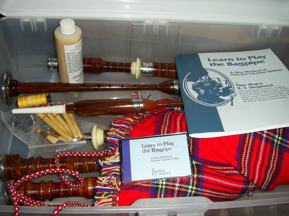 Complete New Highland Bagpipes Rosewood and Silver- Cassette and learning Book