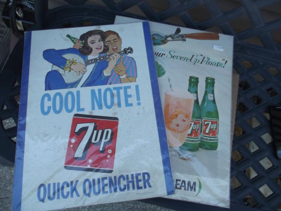 Vintage Rare 1963 Advertising Signs Seven Up 7up Cardboard Stand ups Coke Pepsi