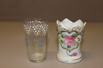 2 vintage Toothpick Holders Glass and Bone China