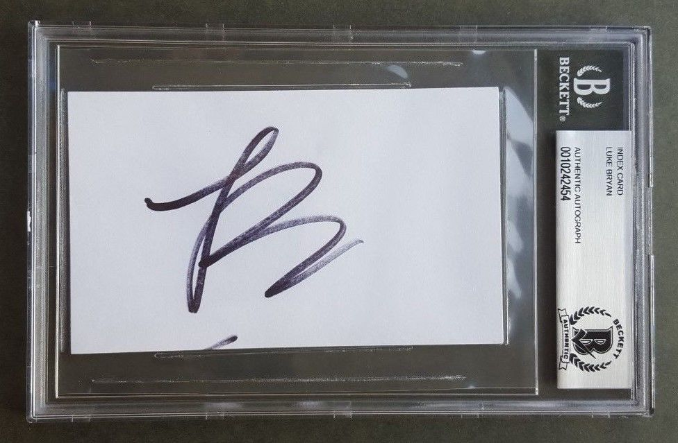 LUKE BRYAN SIGNED 3X5 INDEX CARD SLABBED beckett BAS 100% REAL AUTO