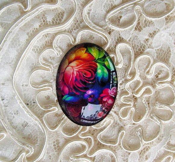 Russian Floral Art 30X40mm Glitter Unset Handmade Art Bubble Cameo Cabochon
