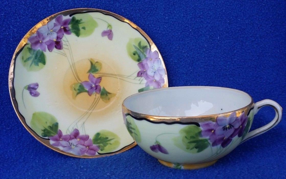 HAND PAINTED TEACUP & SAUCER MADE IN JAPAN TRANSLUCENT EXCELLENT PURPLE