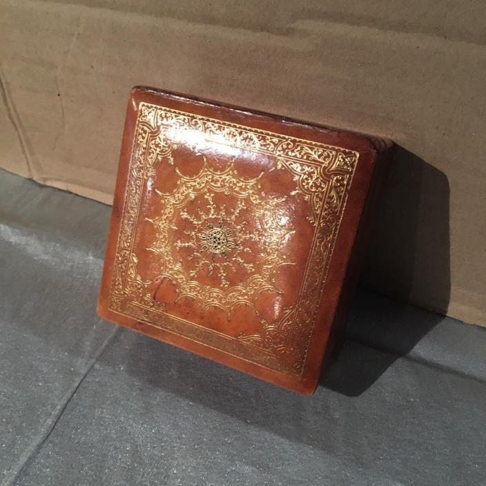GOLD EMBOSSED LEATHER BOX