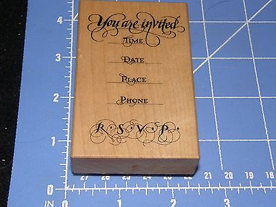 RUBBER STAMP   PSX YOU ARE INVITED  CURSIVE   WORDS PHRASES  PARTY