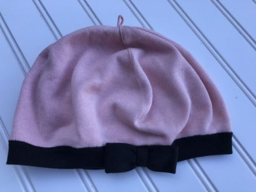 Janie And Jack Pink Hat With Black Bow Girl 6-8 EUC