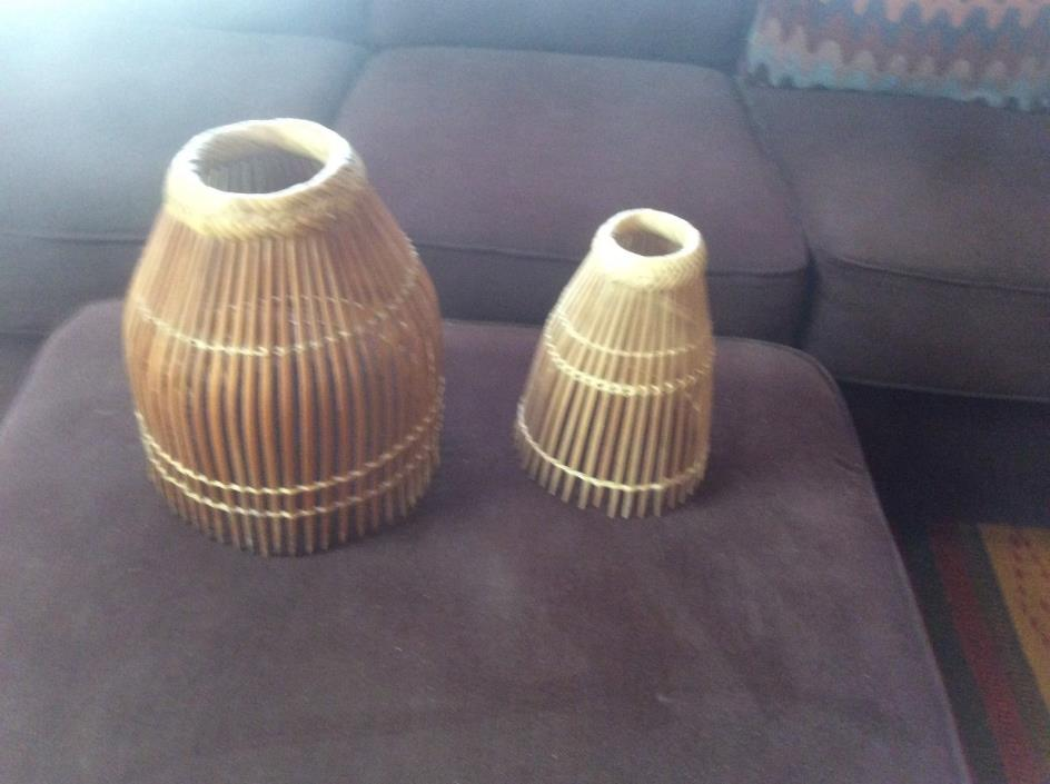 Two Vintage Philippine Rattan / Bamboo Fish Traps