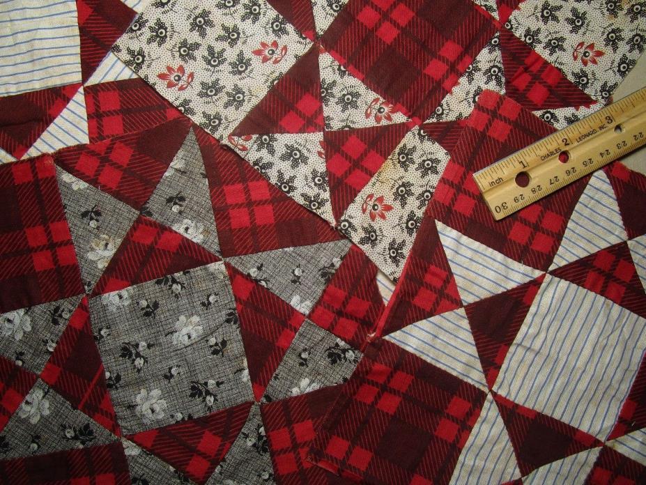 Antique Quilt Blocks 1800's - Hand sewn  5 pcs 8