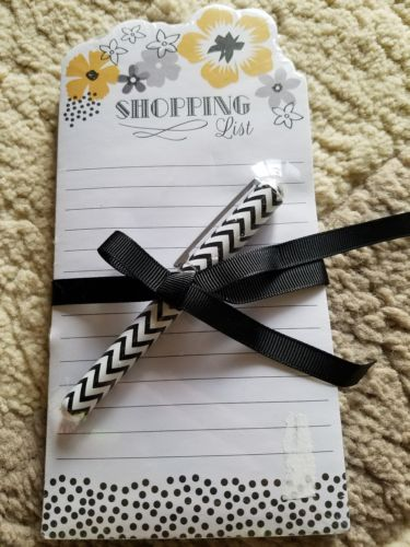 shopping list notepad with pen in yellow and black Lady Jayne Ltd.