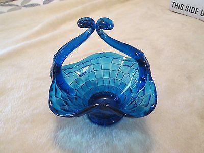 Cobalt Blue Glass Basket W/ Woven Weave Design