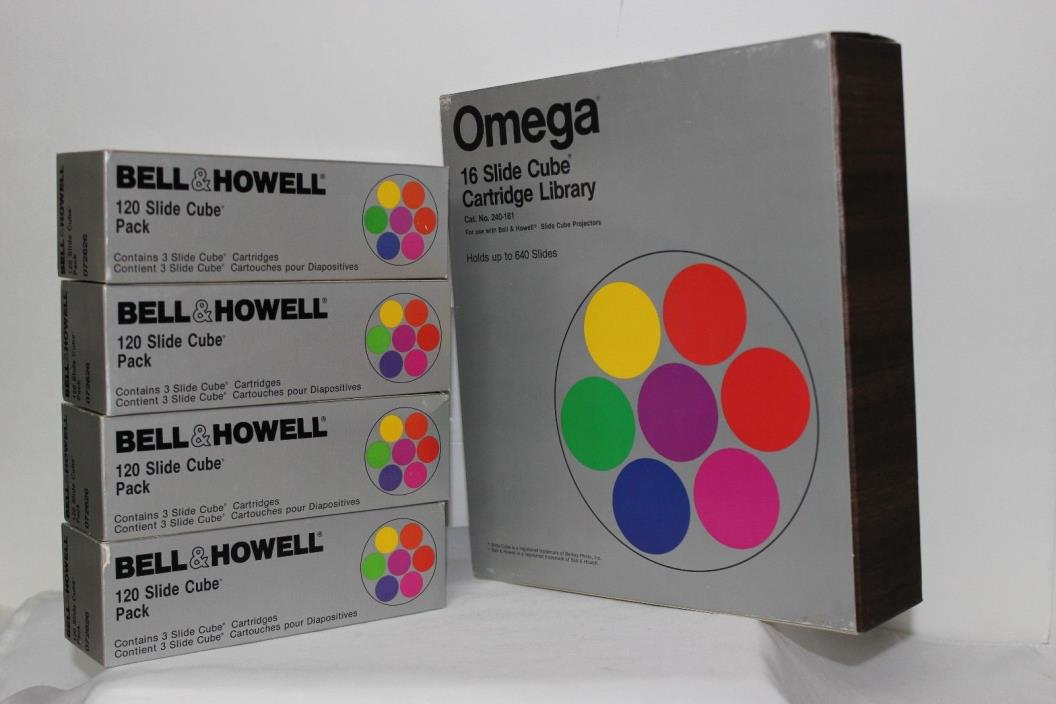 OMEGA 16 SLIDE CUBE CARTRIDGE LIBRARY & 4 BELL & HOWELL 120 SLIDE CUBE PACKS
