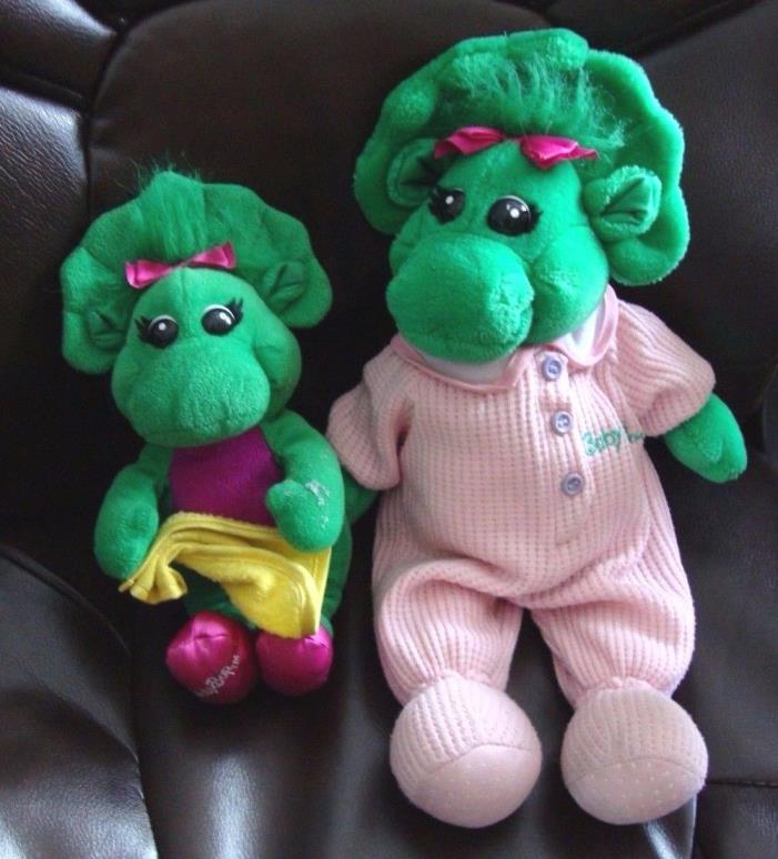 2 Barney BABY BOP Dinosaur Plush DOLLS 17 Inch in Pink Pajamas & 11 Inch