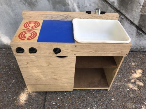 Vintage Creative Playthings Wood Kitchen stove sink cabinets  Countertop Wooden