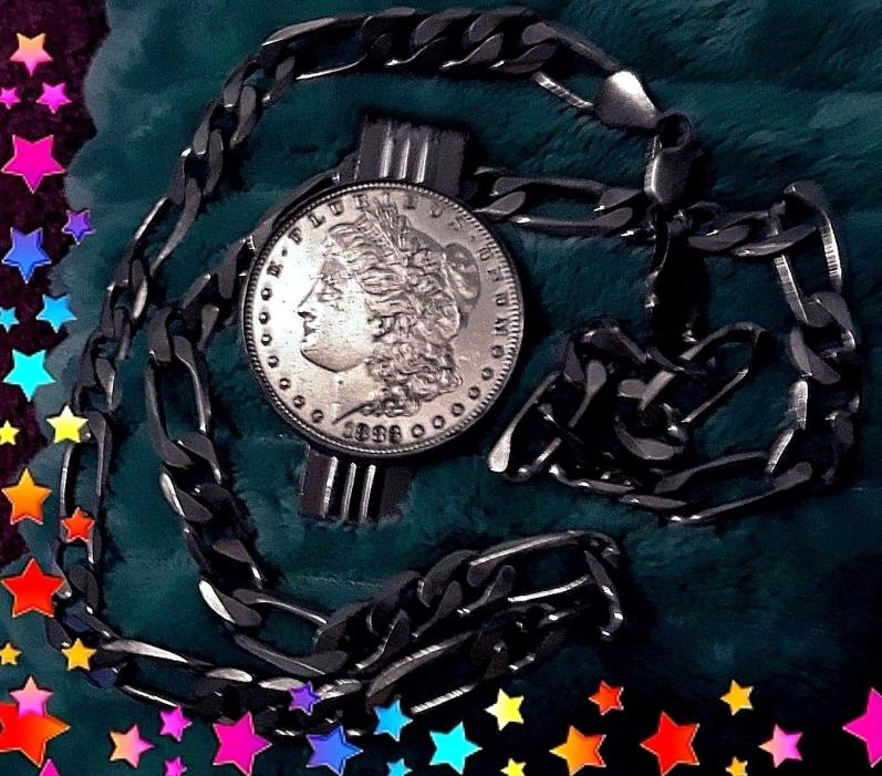 1896 Morgan Dollar money clip/ pendant w/ necklace Heavy Sterling Silver Jewelry