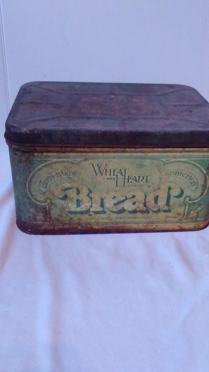 1977 Wheat Heart Bread Box Metal Tin Hinged Lid