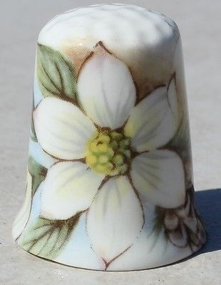 Collectible Bone China British Made Thimble Bristish Columbia Souvenir Flowers