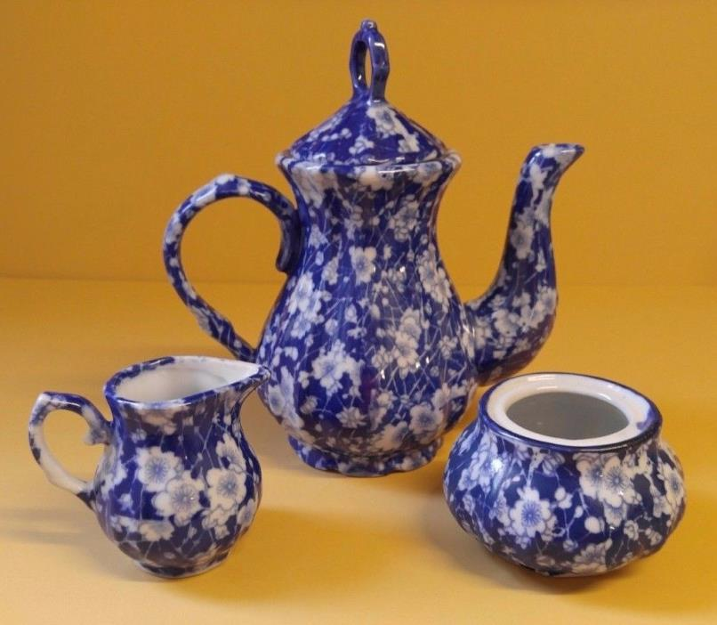 Cobalt Blue & White TeaPot Creamer & Sugar Bowl Floral Design