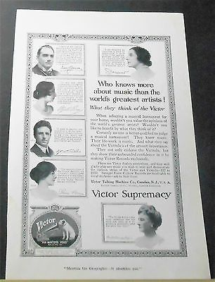 1918 VICTOR SUPREMACY Talking Machine Co Ad 6 great artists opinions VICTROLA