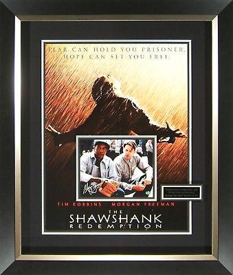 Shawshank Redemption Signed Movie Poster Display Tim Robbins Morgan Freeman