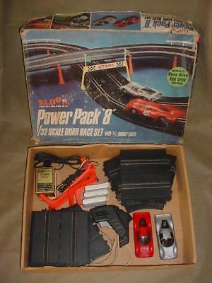 RARE 1963 1/32 Eldon Power Pack 8 Vintage Slot Car Race Track W/ ORIGINAL CARS