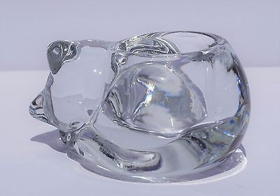 Vtg Clear Art Glass Sleeping CAT Votive CANDLE HOLDER 2.5