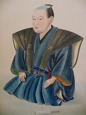 Meiji era antique original Japanese painting samurai sitting in kimono costume
