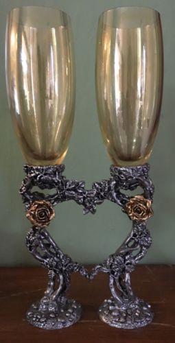 Vintage Rose-Heart Champagne Glasses/Toasting Flutes: Pewter Rose Vine Base NEW