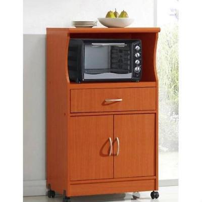 Mahogany Wood Finish Kitchen Cabinet Microwave Cart