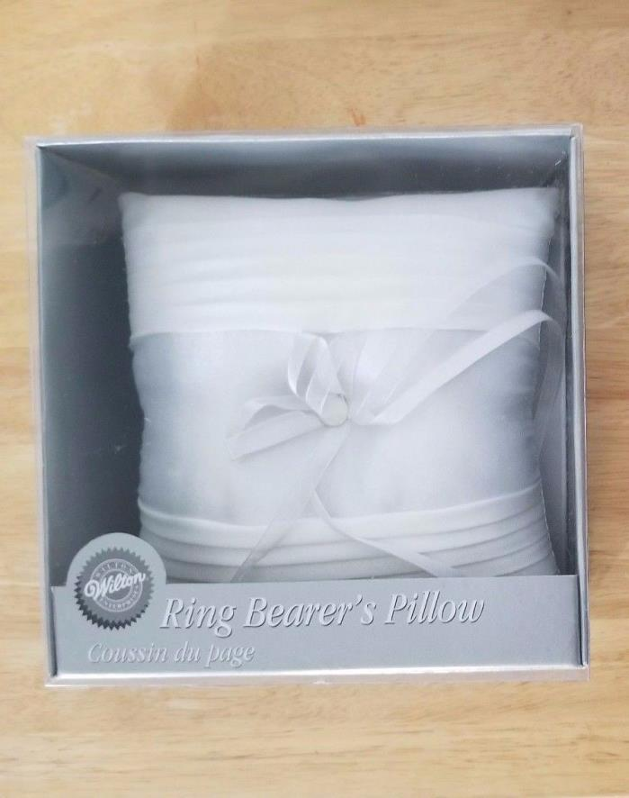 Wilton Ring Bearer's Elegance Pillow. white, fabric detail & ribbon bow, button