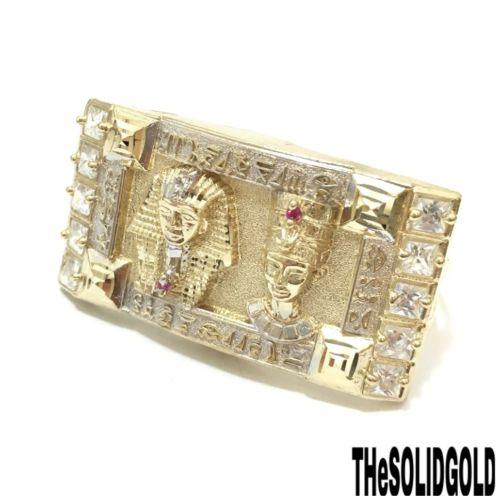 NEW 10K YELLOW GOLD EGYPTIAN PHARAOH KING & NEFERTITI TWO FINGERS HIP HOP RING