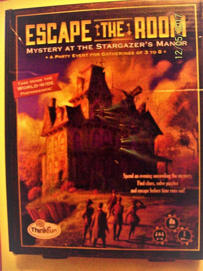 Escape the Room Mystery at the Stargazer's Manor Thinkfun Board Game Complete