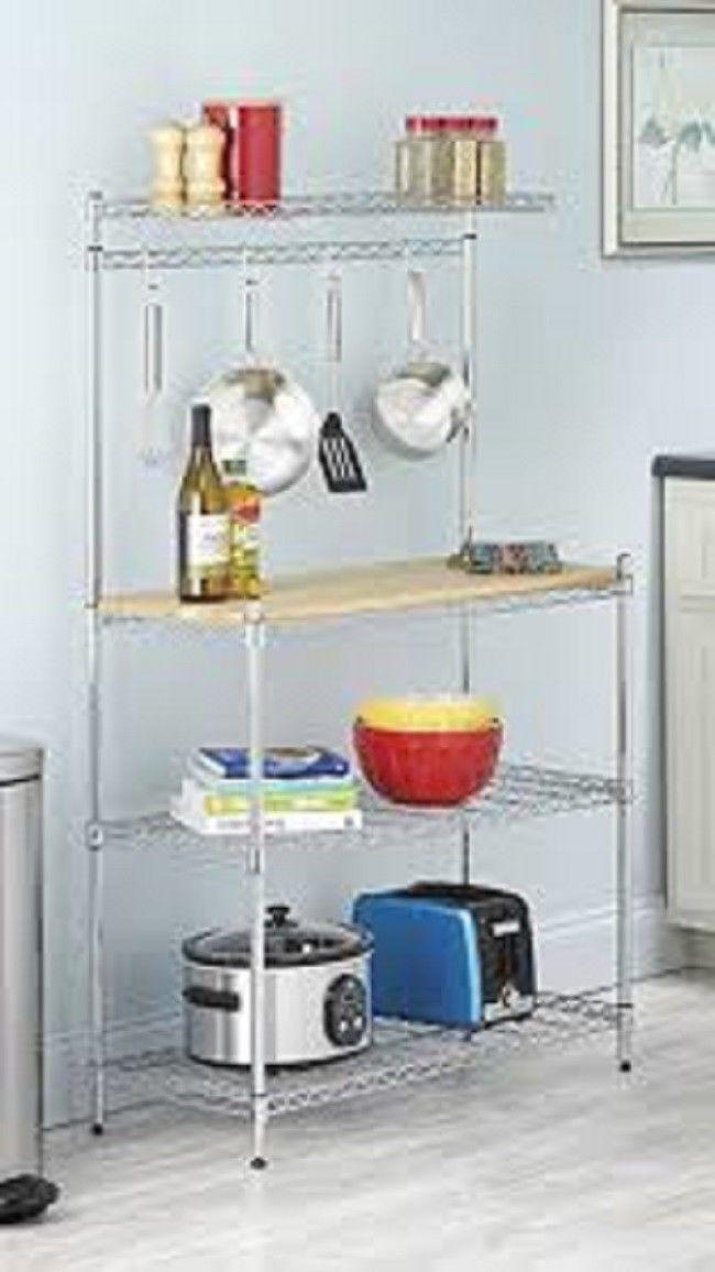 Bakers Rack Chrome Wood Top Shelf Kitchen Racks Storage Organization Organize