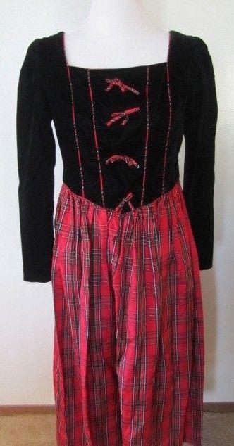 Vintage 90's Storybook Heirlooms Victorian Red Plaid w/Black Velvet Plush Sz M