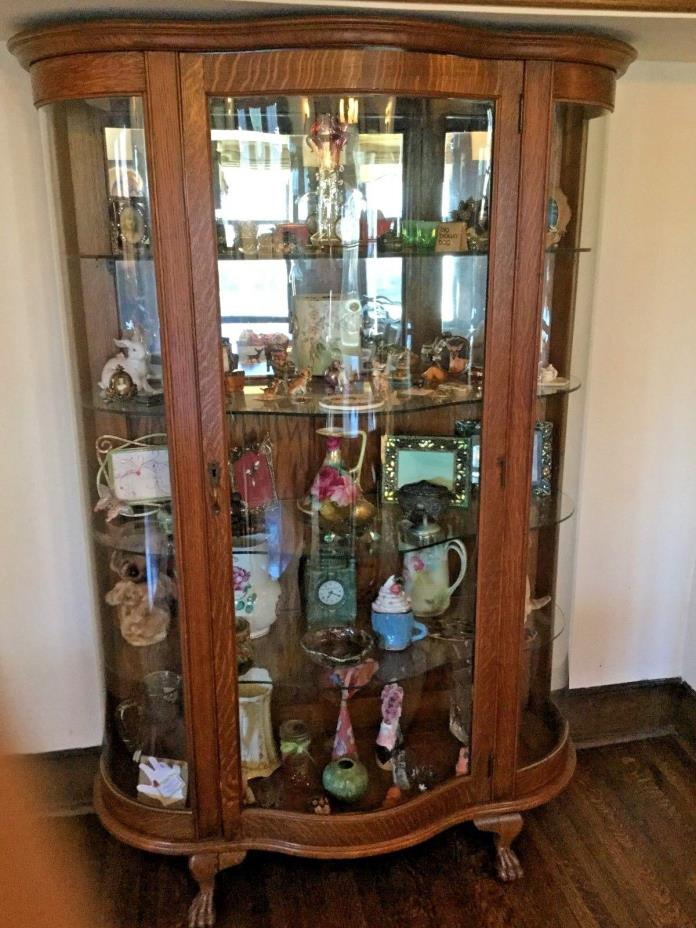 Antique Curved Glass China Cabinet - Claw Foot - Quarter Sawn Oak