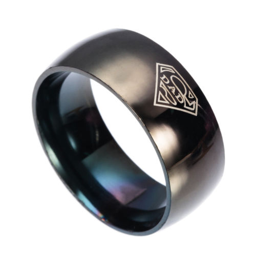 8mm Fashion Black Stainless Steel Dad Superman Laser Engraved Men's Ring Sz 7-12
