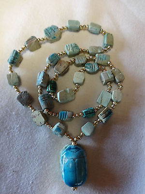 Vintage Blue Glazed Ceramic Clay Scarab Beetle Egyptian Marmar Bead Necklace