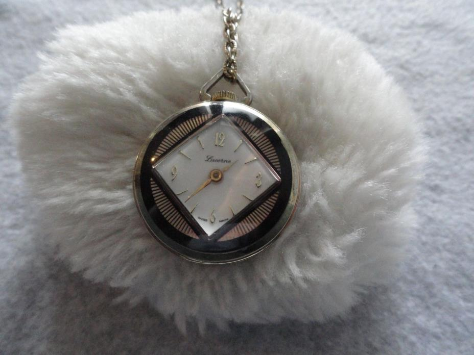 Vine Swiss Made Lucerne Wind Up Necklace Pendant Watch