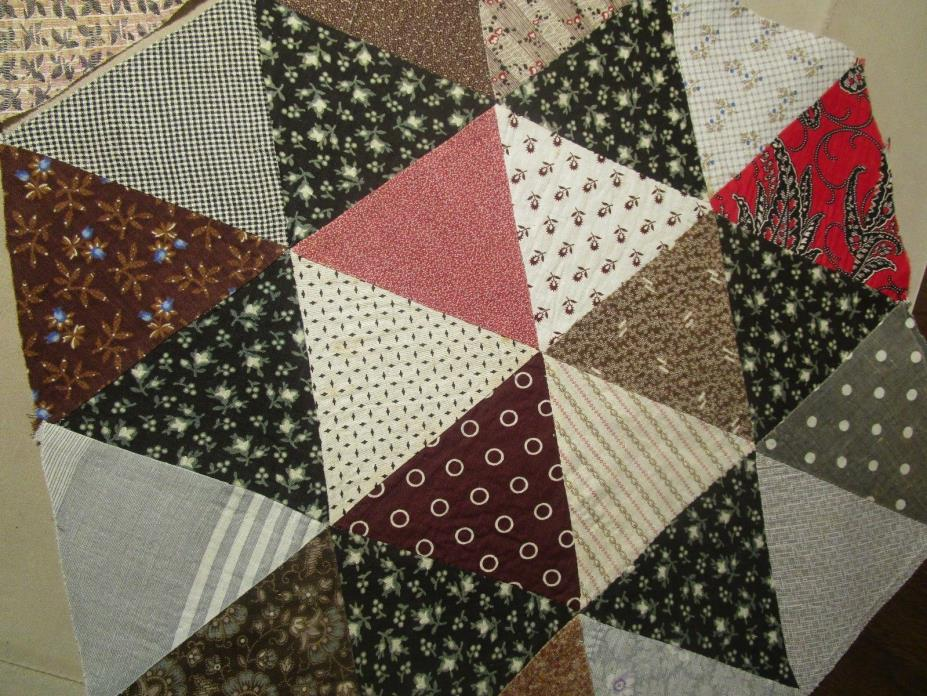 Antique Quilt Blocks Hand sewn Early fabric 2 large pcs 16