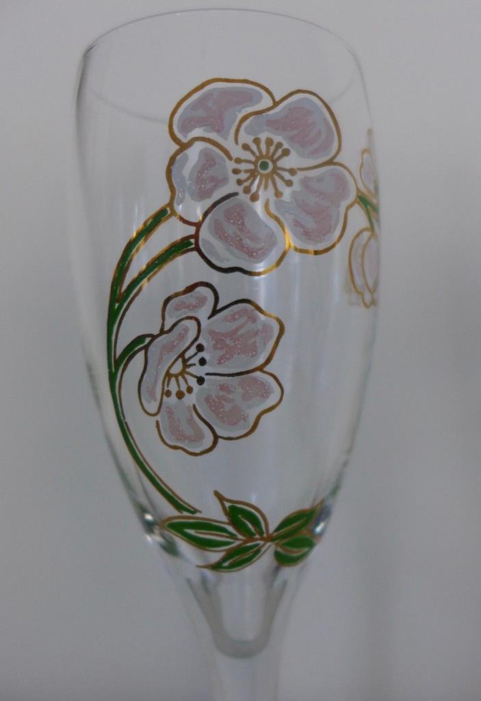 VINTAGE FLORAL Handpainted PAIR(2) CHAMPAGNE TOASTING GLASSES for BRIDE & GROOM