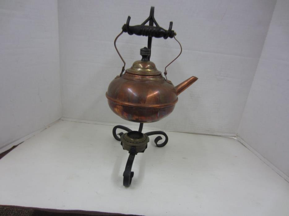 Antique S. Sternau & Co. SS&Co Brass TEA KETTLE, Stand and Warmer Teapot vintage