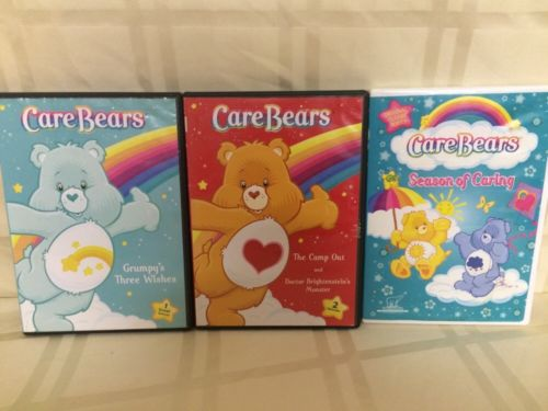 Lot of 3 Care Bears DVD's - Grumpy's 3 Wishes, The Camp Out, Season Of Caring