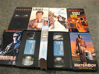 8 Asst.VHS Movies-Titanic,Liar Liar,Water Boy,Oceans 11,Term.2,Anaconda,GreekWed