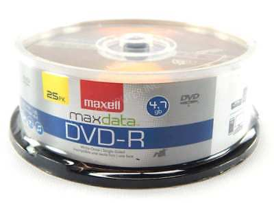 Maxell DVD-R Discs, 4.7GB, 16x, Spindle, Gold, 25/Pack