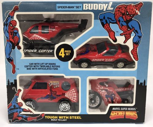 Vtg 1984 Buddy L Spider-Man Secret Wars Boxed 4 Vehicle Set Copter Van Bike Car